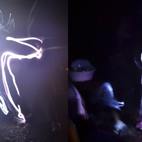 Light Art by Kids with Sparkles and Flashlights
