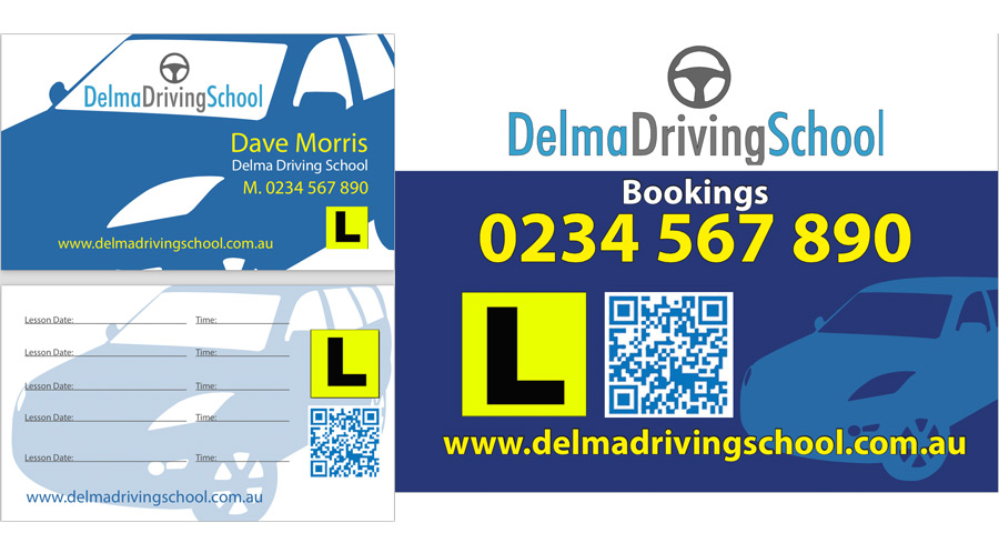 Car Magnet, Business Card with QR Code